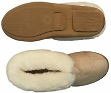 Men's Sheepskin Slipper Rubber Sole Best Wool House Bootie sz 8 9 10 11 12 13 14