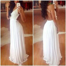 Sexy Women Backless Crochet Lace Prom Maxi Long Gown Cocktail Beach Club Dress D