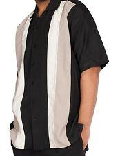 After Dark Big & Tall Mens Retro Mob Charlie Bowling Shirt in Black, Blue,Cream