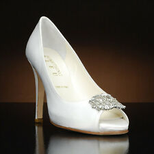"Something Bleu ""Cherish"" White and Ivory Peep Toe Heel with Toe Decoration"