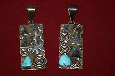 Alex Sanchez Sterling Silver Petroglyph Pendants with turquoise - 2 variations