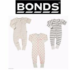BONDS BABY BOY GIRL COTTON WONDERSUIT ZIP ONE PIECE JUMPSUIT PINK WHITE PYJAMAS