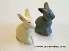 East of India Grey & Cream Bunny Rabbit Hand Carved Figures - Gift Easter Wood