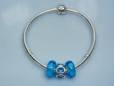 Genuine Sterling Silver 925 Pandora Bracelet + 3 Unbranded Murano Charms Beads