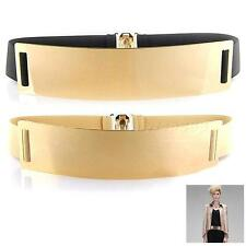 1Pcs Gold Metal Bling Mirror Plate Wide 4CM Waist Stretch Elastic Sexy Belt OT8G