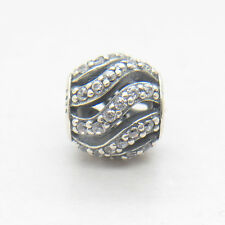 Winter Wisp Clear CZ 925 Sterling Silver Bead Hollow charm fit European bracelet