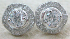 REAL 925 STERLING SILVER white ROUND CZ studs earrings - TEEN GIRL WOMEN