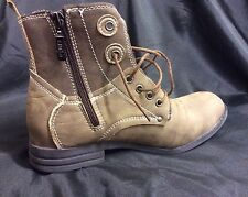 LADIES/TEENAGE MILITARY STYLE ANKLE BOOT Size's UK3.5-4-5-6-6.5-7 BROWN & BEIGE
