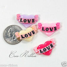 12pc 26mm Valentine Heart With Love Banner Flatback Resin Cabochons U Pick Color