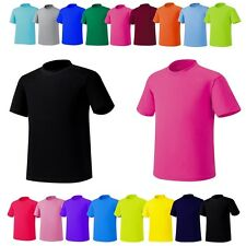 Mens Womens Basic Plain Blank CrewNeck Short Sleeve Solid Cotton TShirts Top Tee