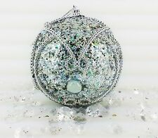 Xmas Christmas Decorations Baubles Tree Ornaments Silver Glitter Sparkles x 6