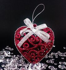 Xmas Baubles/Ornaments Tree Decorations Shabby Glitter Cerise /Gold Chic Heart