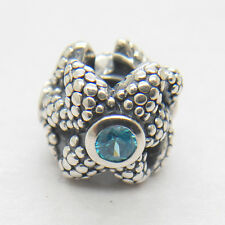 Sea Star With blue spinel Genuine solid 925 sterling silver Charm bead