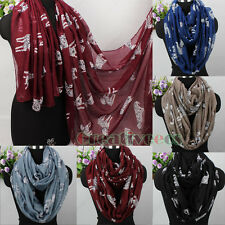 Women's Animal Dalmatian Spotty Dog Print Long Scarf/Infinity 2-Loop Cowl Scarf