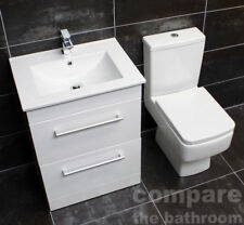 570mm Square Vanity Unit & Basin Toilet Set Bathroom Suite + Tap 600mm