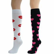 Ladies Knee High Red Lips Kiss-Hearts Socks Lot
