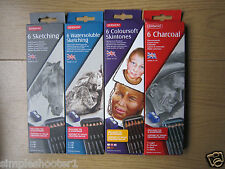 DERWENT WATERSOLUBLE COLOURSOFT SKINTONE CHARCOAL SKETCHING 6 PENCILS**NEW**