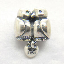 Turtle Doves Love Heart Bird Charm For European Bracelet Sterling silver Bead