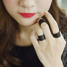 Women's 3 Pcs Cool Black Plain Stack Knuckle Band Midi Ring Set