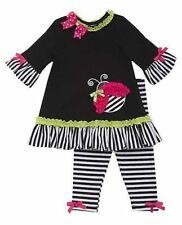 NWT Girls Rare Editions Black Pink LADYBUG outfit Dress Clothes 12-24mths