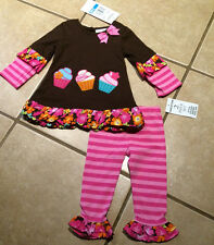 NWT  Girls Rare Editions Cupcake Birthday Tunic Ruffle Legging Set SZ 12-24mths