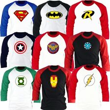 Superhero FILM Marvel DC COMICS Batman Superman Flash GL Baseball tshirt Jersey