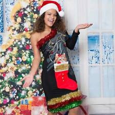 Sexy Ugly Xmas Sweater Party Dress 1 Shoulder Kitty Cat in Stocking Funny Wow