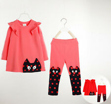 Long sleeve winter baby kid clothes girls outfits sets pants dress pink red B180