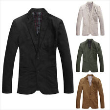 New Men's Stylish Casual Slim Fit Two Button Suit Blazer Coat Jackets 4 Colors
