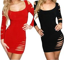 Sexy Slashed Ripped Mini Club/PartyDress Size10-12 Red or Black G String Bodycon
