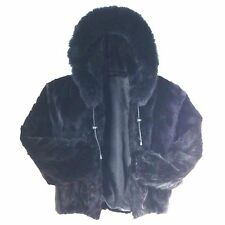 Dyed Ranch Mink Section Finland Fur Woman Jacket With Hood, T001, 2XL, Black