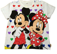 Girls  Mickey & Minnie Loves Valentine Colorful Heart Tee Shirt Size 18mths-4T