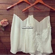 Women Chiffon Sleeveless Hollow Lace Splice Shirts Tops Blouse O-Neck Sheer Vest