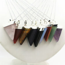 New Natural Gemstone Crystal Triangle Silver Pendant Reiki Chakra Chain Necklace