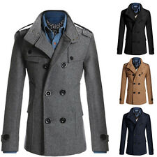 Mens Slim Fit  Peacoat Winter Double Breasted Long Trench Jackets Overcoat