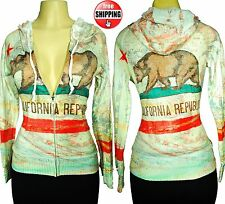 New WOMENS CALIFORNIA REPUBLIC All Over Print Jacket Hoodie Sweatshirt w/ bear