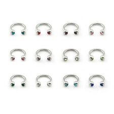 Surgical Steel Horseshoe Bar with CRYSTAL GEM Balls Lip Nose Septum Ear Ring
