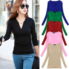 Women Casual Stretch Long Sleeve Shirt Sexy V Neck Loose Tops Blouse T Shirt TEE