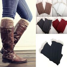 2015 Women Girl`s Crochet Knit W/ Button Leg Warmers Lace Trim Cuffs Boot Socks