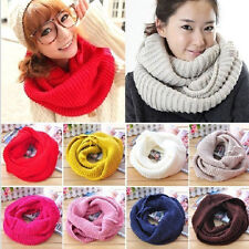 Hot Women Winter Warm Infinity 2Circle Cable Knit Cowl Neck Long Scarf Shawl