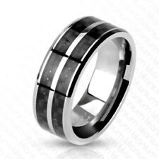 """Titan Mens Ladies Ring Silver Black """" Carbon Fiber Inlay Jewellery by allforyou"""