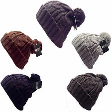 Bnwt Mens Womens Cable Knit Bobble Warm Beanie Ski Wooly knitted hats
