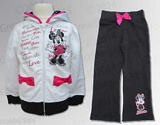 Girls Minnie Mouse 2 Piece Set Top & Pant Official Disney Full Zip Hoodie BNWT
