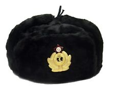 USHANKA Russian Winter Hat  Military Style   BLACK Soviet Navy Badge