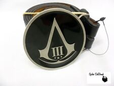COOL ASSASSINS CREED III [3] LOGO ROUND BUCKLE WITH BELT *BRAND NEW*