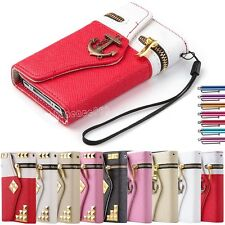 For iPhone 4 / 4S Hybrid Leather Flip Credit Card Zipper Wallet Hard Case Cover