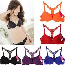 Sexy Fashion Womens Front Closure Lace Racer Back Push Up Seamless Bra Racerback