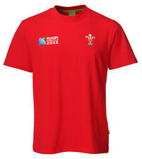 NEW MENS WALES WELSH OFFICIAL WRU 2015 RUGBY WORLD CUP 100% COTTON TSHIRT W-005