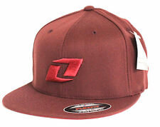 One Industries Icon J-Fit Flexfit Hat Mens Port Red Wool Blend Ball Cap New NWT