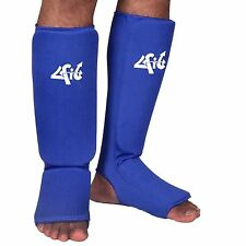 4Fit Shin Instep Protectors, Guards Pads Boxing, MMA, Muay Thai BLUE S,M, L, XL